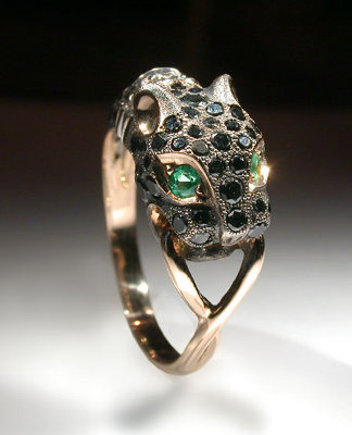 Ring, gold 585°, diamonds, black diamonds, emeralds.