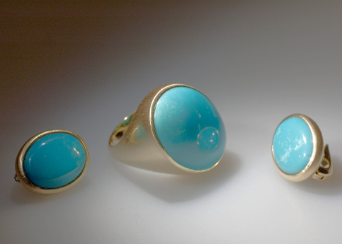 Gold, turquoise