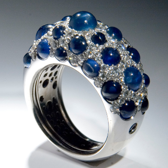 White gold, sapphires, brilliants