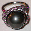 Ring, white gold 750°, pearl 13,6 mm, diamonds, black diamonds, rose sapphires. Price $7550